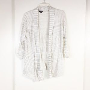 Express Open Front Striped Cardigan Large
